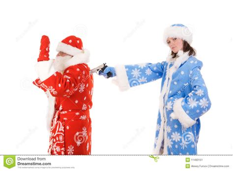 Santa Claus With Maiden In Bright Clothes Stock Santa Claus And Maiden Stock Image Image 11493151