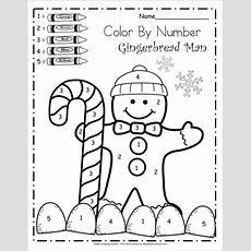 Free Kindergarten Math Worksheets For Winter  Color By Number  Kindergarten December