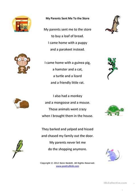 parents     store poetry lesson worksheet