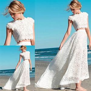 2015 new fashion two piece wedding dress lace high neck With two piece beach wedding dress