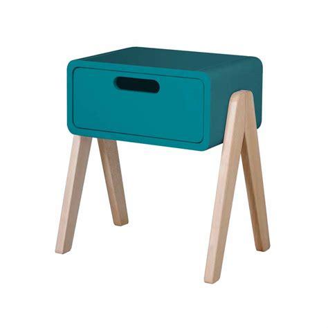 pied de le de chevet en bois chevet petit robot pieds naturels bleu canard laurette pour chambre enfant les enfants du design
