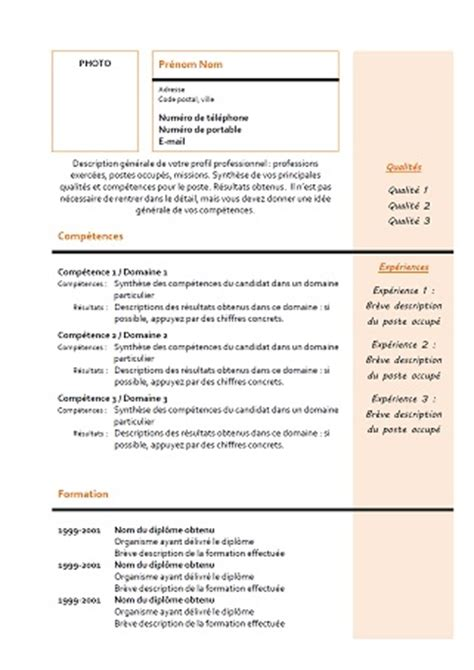 modele de cv mixte  orange exemples de cv