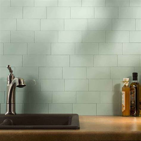 stick on backsplash minimalist kitchen ideas with green olive color subway