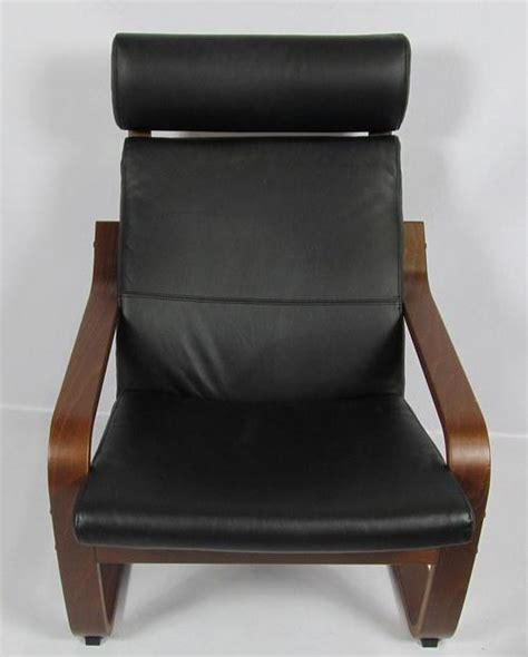 ikea poang black leather dark brown chair and foot rest