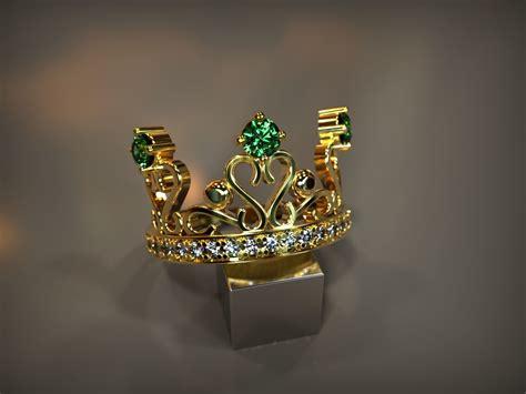 Crown ring 3d print model tiara ring vintage jewelry stl