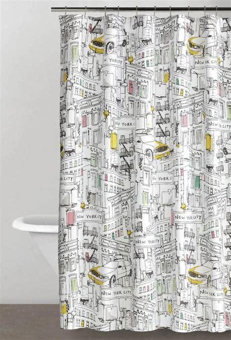 dkny broadway new york fabric shower curtain modern
