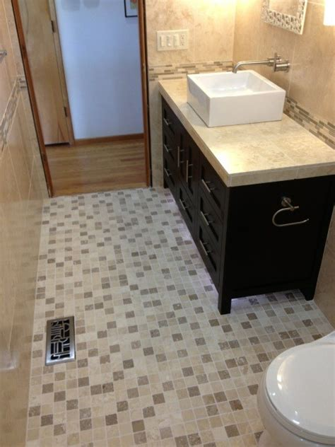 2x2 floor tile noce and ivory mix 2x2 tumbled travertine mosaic guest