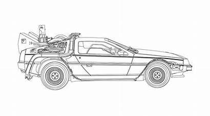 Delorean Vector Future Illustration Coloring Pages Getdrawings