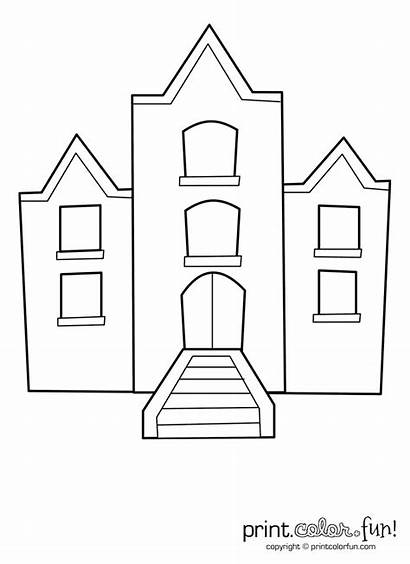 Building Windows Coloring Pages Apartment Draw Printable