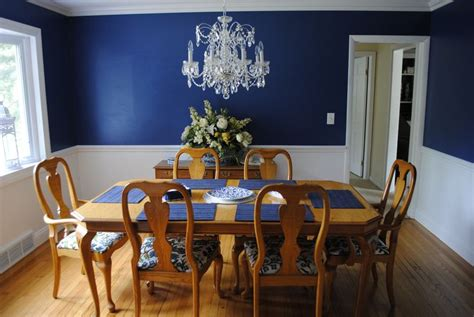 Navy Blue Walls With A Chair Rail And White