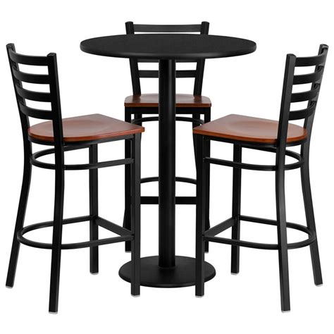 table carrel馥 cuisine 30 quot black laminate table set with 3 ladder back metal bar stools with cherry wood seat from 252 00 in skutchi com skutchi designs