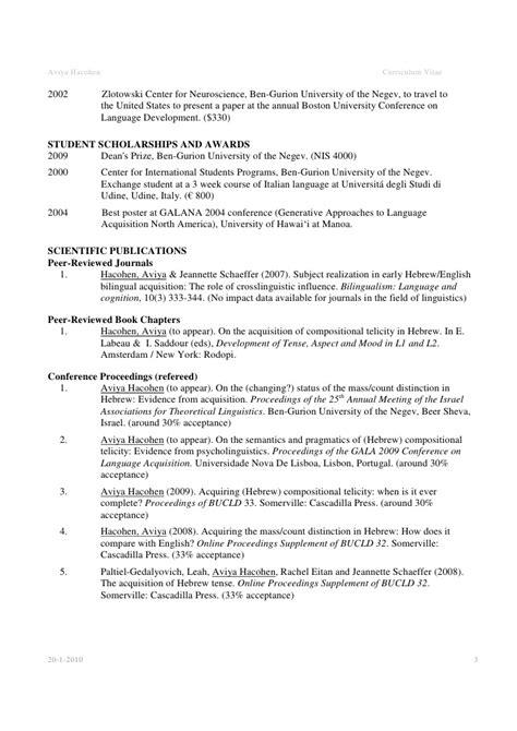 Conference Presentations On Resume by Academic Cv Exle