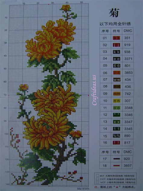 embroidery cross stitch chrysanthemum craft ideas