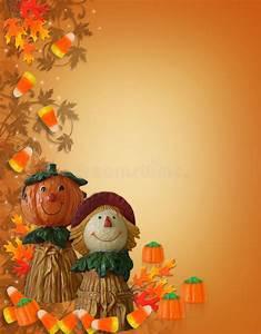 Halloween Border Pumpkin Scarecrow Stock Illustration