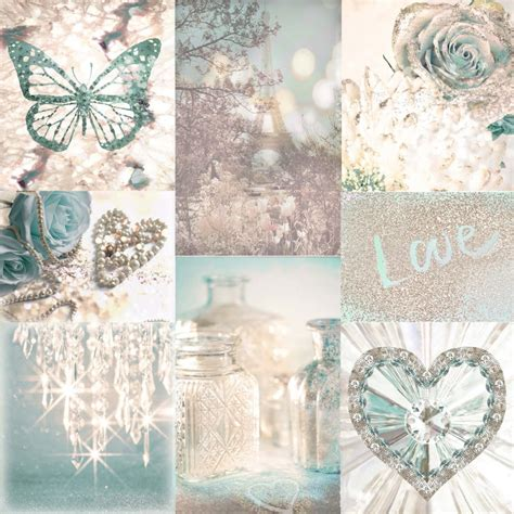 love paris teal  cream chic montage glitter glam