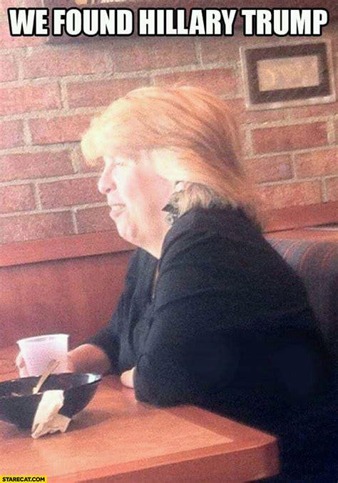 trump hillary hair donald woman found trumps meme haircut long joke starecat celebs