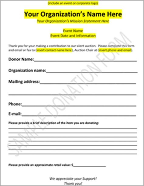 charitable donation form template downloadable charity auction donation form template