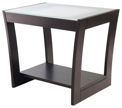 frosted glass end table winsome wood radius end table w frosted glass curved