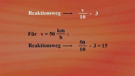 terme und termumformungen bremsweg berechnung grundkurs