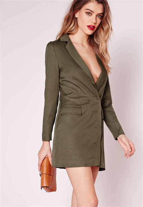 Lyst - Missguided Petite Exclusive Long Sleeve Blazer Dress Khaki in Natural