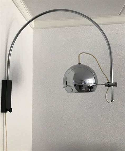 vintage 1960s adjustable chrome metal globe wall l with arched chrome arm for sale at 1stdibs