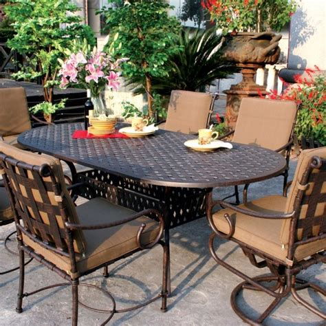 6 Person Patio Dining Set by Darlee Malibu 6 Person Cast Aluminum Patio Dining Set
