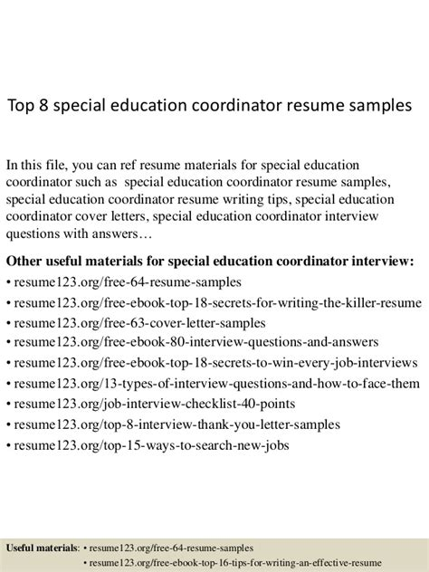 Education Coordinator Resume by Top 8 Special Education Coordinator Resume Sles