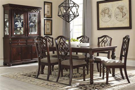 ashley leahlyn  dining room set pcs  reddish brown