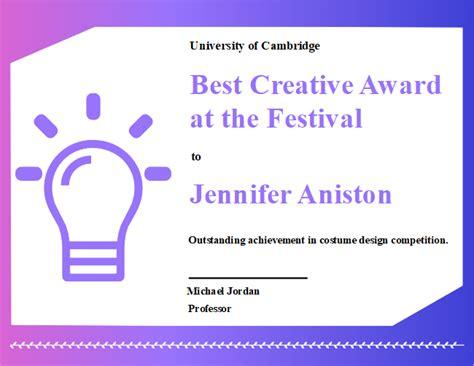 creative award certificate  creative award