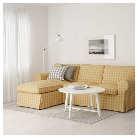 ektorp two seat sofa and chaise longue skaftarp yellow ikea