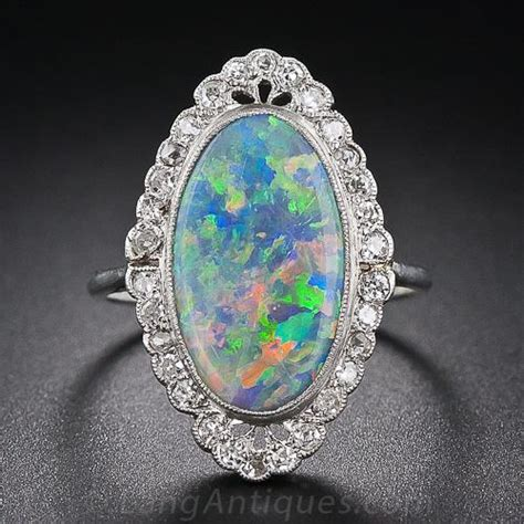 antique black opal  diamond ring