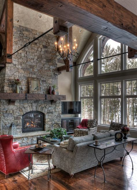wood fireplace mantel living room rustic with reclaimed wood floor lake house arched windows