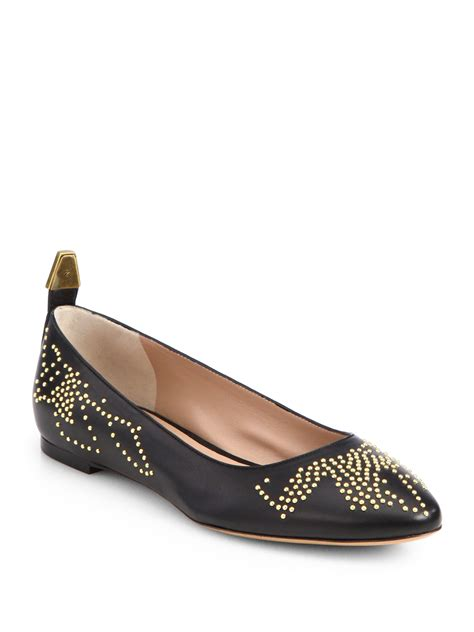 0870dd23d5e 2000 x 2667 lyst.com. Chloé Leather Studded Ballet Flats in Black ...