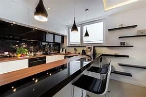 cuisine blanche et noire 35 photos et idees deco surprenantes With cuisine noir et blanche