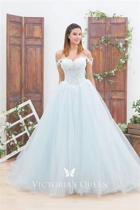 Light Blue Lace And Tulle Off The Shoulder Ball Gown