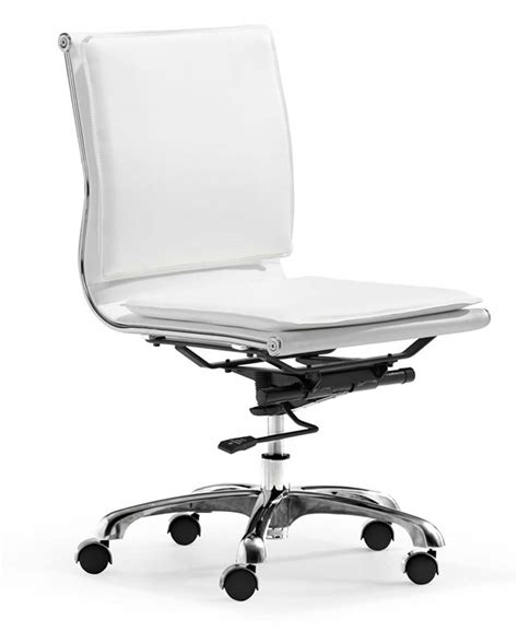white modern desk chair zuo modern lider plus armless office chair white 215219