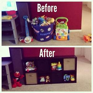 Living room toy storage organization pinterest for Organizing living room family picture ideas