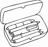 Pencil Box Clipart Case Coloring Cliparts Library sketch template
