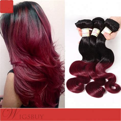 virgin remy ombre hair  tone color burgundy body wave hair weave extensions  pcs wigsbuycom