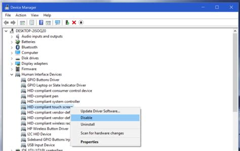 How To Disable The Touch Screen On A Twoinone Windows 10