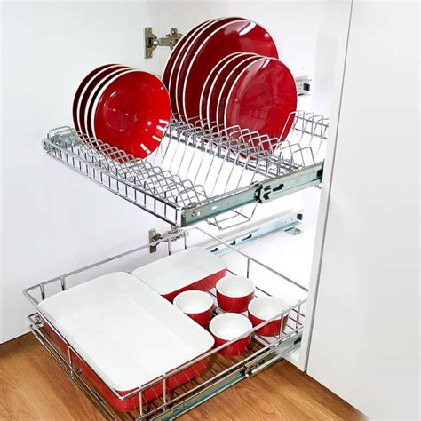 stainless steel pull  plate rack  kitchen cabinets tansel storage
