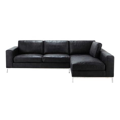 canape d angle cuir noir canapé d 39 angle vintage 4 places en cuir noir