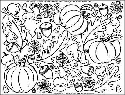 Coloring Ghosts Autumn Ten Printable Halloween Children