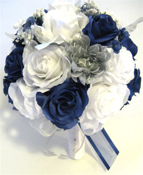 pc wedding bouquet bridal silk flowers dark blue silver