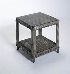 dreams4home beisteltisch quotfauskequot rattan mit glaspaltte 46 With französischer balkon mit beistelltisch garten holz