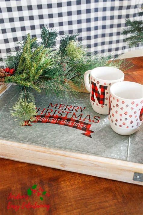 buffalo plaid christmas coffee table tray  cricut