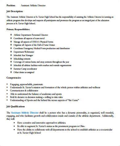 athletic director job description student athlete sports