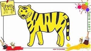 How to draw a tiger 2 EASY & SLOWLY step by step for kids ...