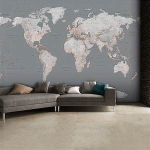 Detailed silver grey world map feature wall wallpaper for Best brand of paint for kitchen cabinets with world map sticker wall art