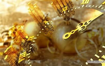 Golden Clock Gold Background Desktop Wallpapers Christmas